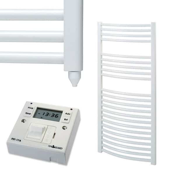Curved White Electric PTC Towel Rails – The Bray – with Fused Spur Timer 1