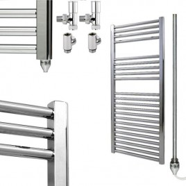 Straight Chrome Towel Rails – Dual Fuel Central Heating and Electric 1