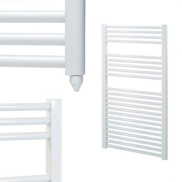 Straight White Electric PTC Towel Rails – Designer – The Bray 1