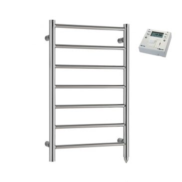 Chrome PTC Electric Heated Ladder Towel Rail – The Alpine – with Fused Spur Timer 1