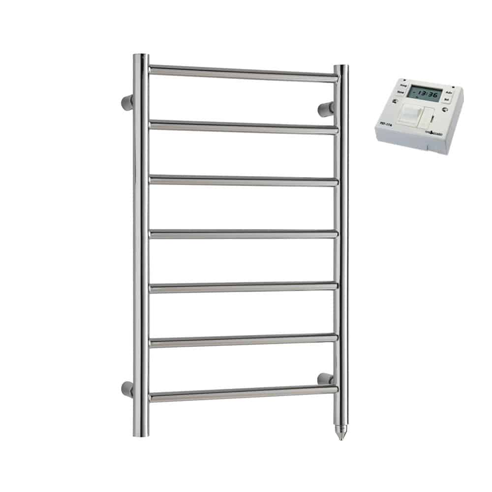 Alpine Modern Electric Heated Towel Rail Warmer Radiator, Round Tube Chrome + Fused Spur Timer