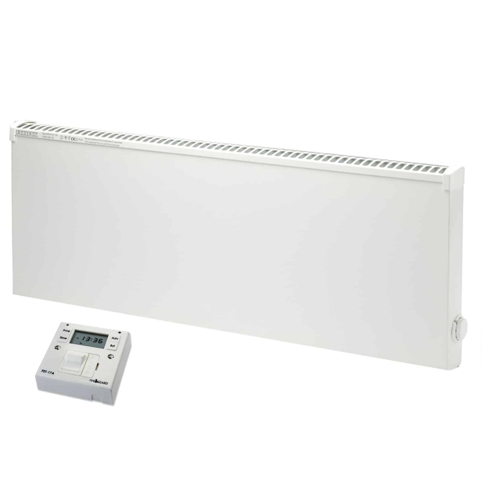 ADAX VPSL Low Surface Temperature Electric Panel Heater / Convectpr Radiator, Wall Mounted + Fused Spur Timer