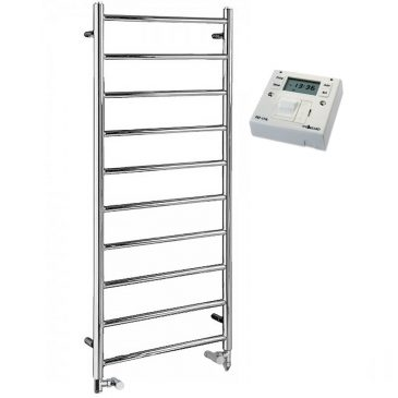 Chrome Heated Ladder Towel Rail – Dual Fuel PTC Electric – The Alpine – with Fused Spur Timer 1