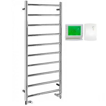 Alpine Modern Dual Fuel Heated Towel Rail Warmer Radiator, Round Tube Chrome + Wireless Timer, Thermostat