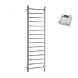 Chrome Electric PTC Heated Towel Rail – Square Tube The Ballaugh with Fused Spur Timer 1