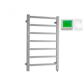 Chrome Electric PTC Heated Towel Rail – Square Tube The Ballaugh with Wireless Timer & Thermostat 1