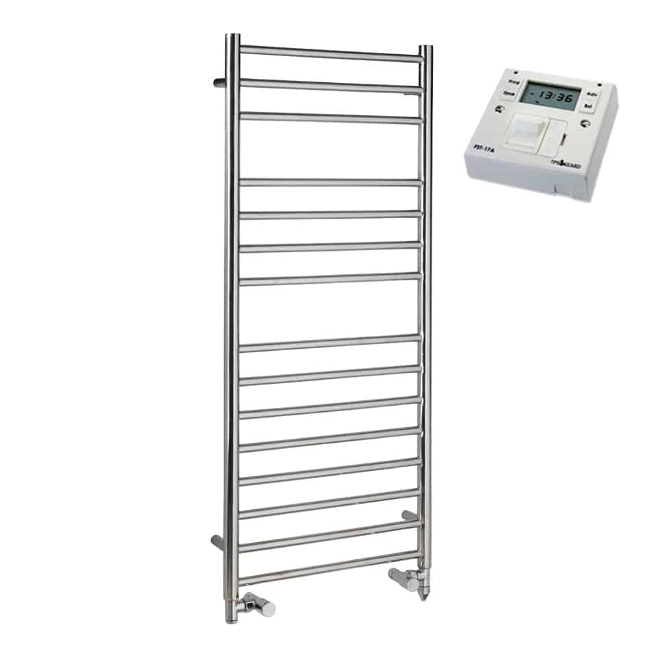 Ladder Heated Towel Rails: Braddan Stainless Steel Dual Fuel PTC / Centrally Heated