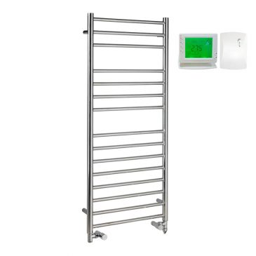 Braddan Stainless Steel Dual Fuel Electric / Central Heated Ladder Towel Rail – Wireless Timer & Thermostat 1