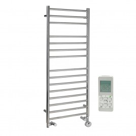 Braddan Stainless Steel Dual Fuel Thermostatic Remote Control Electric Heating Element Ladder Towel Rail 1