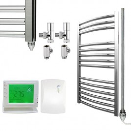 Curved Chrome Heated Towel Rail Dual Fuel Electric Ptc With Wireless Timer The Bray