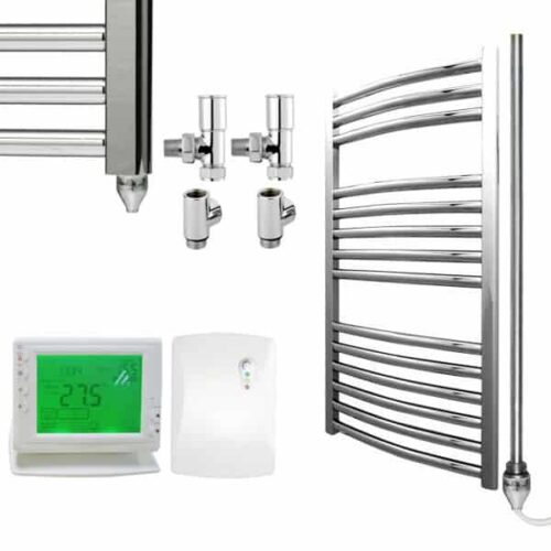 Chrome Curved Towel Rails – Dual Fuel Central Heating and Electric PTC – The Bray – Wireless Timer & Thermostat 1
