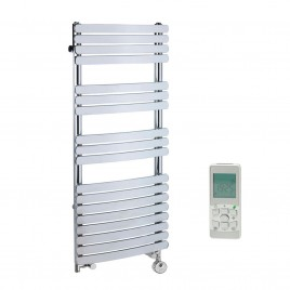 Designer Flat Bar Heated Towel Rail Dual Fuel Thermostatic Electric The Greeba