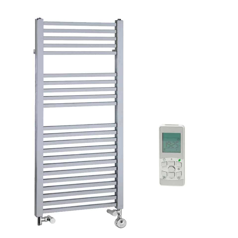Dual fuel bathroom towel radiators - Chrome Dual Fuel Electric Heated Towel Rail Thermostatic Remote Control The Laurel Square Tube 1