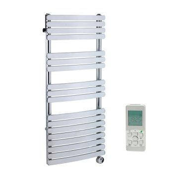 Greeba Modern Thermostatic Electric Heated Towel Rail Warmer Radiator, Curved Flat Panel Chrome + Timer, Remote