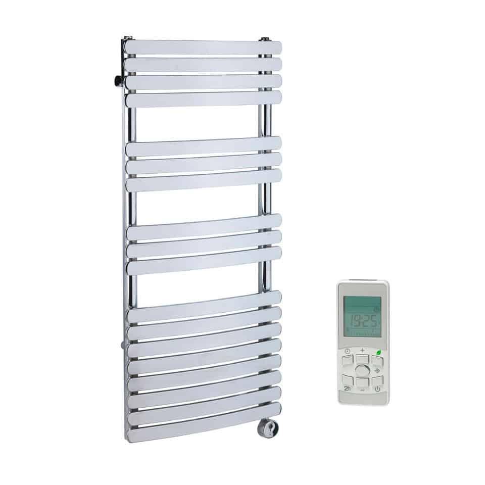 Electric Towel Warmer ~ Greeba flat tube modern heated towel rail chrome