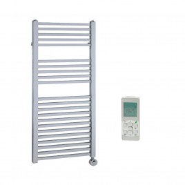 Chrome Thermostatic Electric Heated Towel Rail Remote Control – The Laurel Square Tube 1