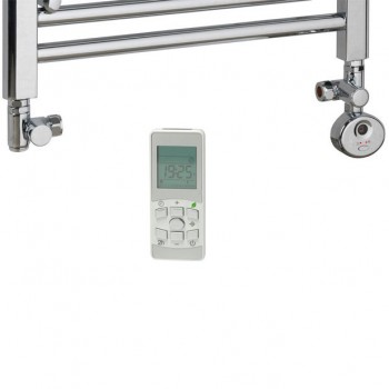 Chrome Dual Fuel Heated Towel Rail Thermostatic Remote Control – The Greeba Flat Bar 2