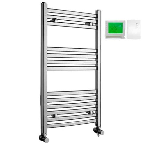 Crosby Curved Chrome Dual Fuel Electric PTC Heating Element Towel Rail with Wireless Timer & Thermostat 1