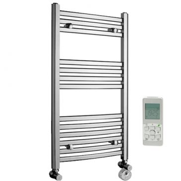 Crosby Curved Chrome Dual Fuel Thermostatic Remote Control Heated Towel Rail 1