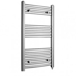 Crosby Curved Chrome Prefilled Electric PTC Heating Element Towel Rail 1