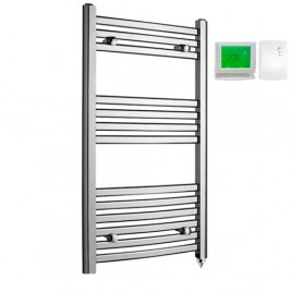 Crosby Curved Chrome Prefilled Electric PTC Heating Element Towel Rail with Wireless Timer & Thermostat 1