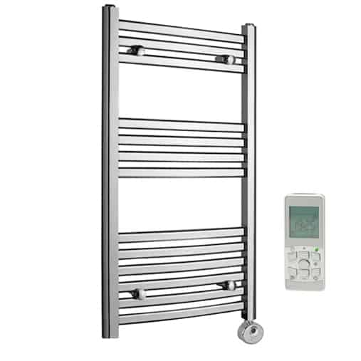 Aura 25 Curved Electric Towel Warmer Chrome White: Crosby Curved Chrome Thermostatic Remote Control Electric