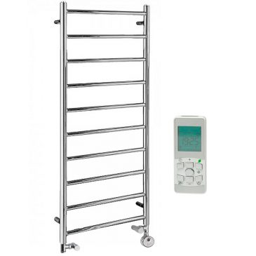 Alpine Modern Dual Fuel Thermostatic Electric Heated Towel Rail Warmer Radiator, Round Tube Chrome + Timer, Remote