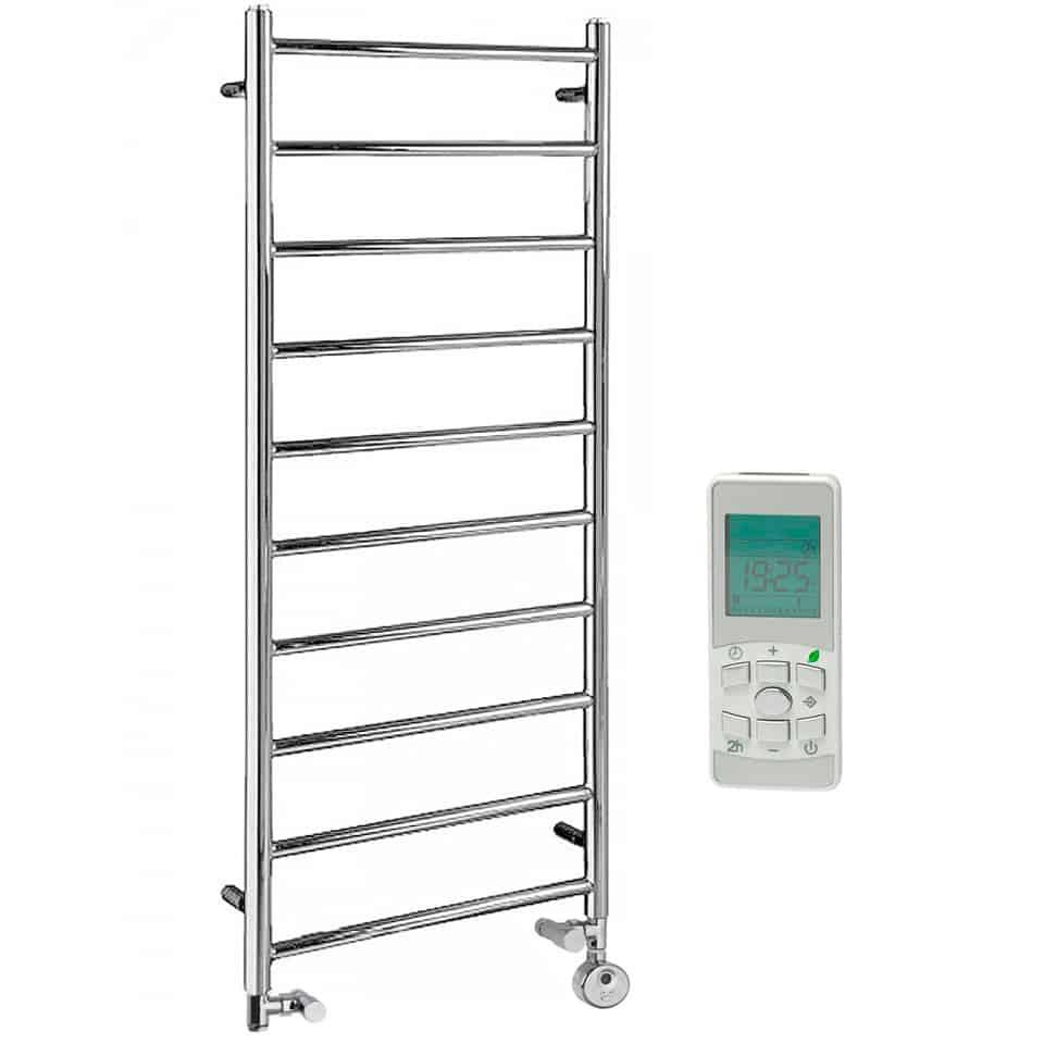 Alpine Chrome Modern Towel Warmer Heated Towel Rail Dual Fuel Thermostat Timer
