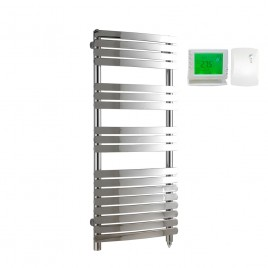 Designer Flat Bar Heated Towel Rail Electric Ptc With Wireless Timer The Greeba