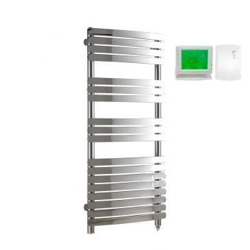 Greeba Flat Bar Chrome Prefilled Electric PTC Heating Element Curved Towel Rail with Wireless Timer & Thermostat 1