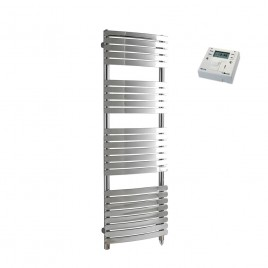 Designer Flat Bar Heated Towel Rail Electric Ptc With Fused Spur Timer The Greeba