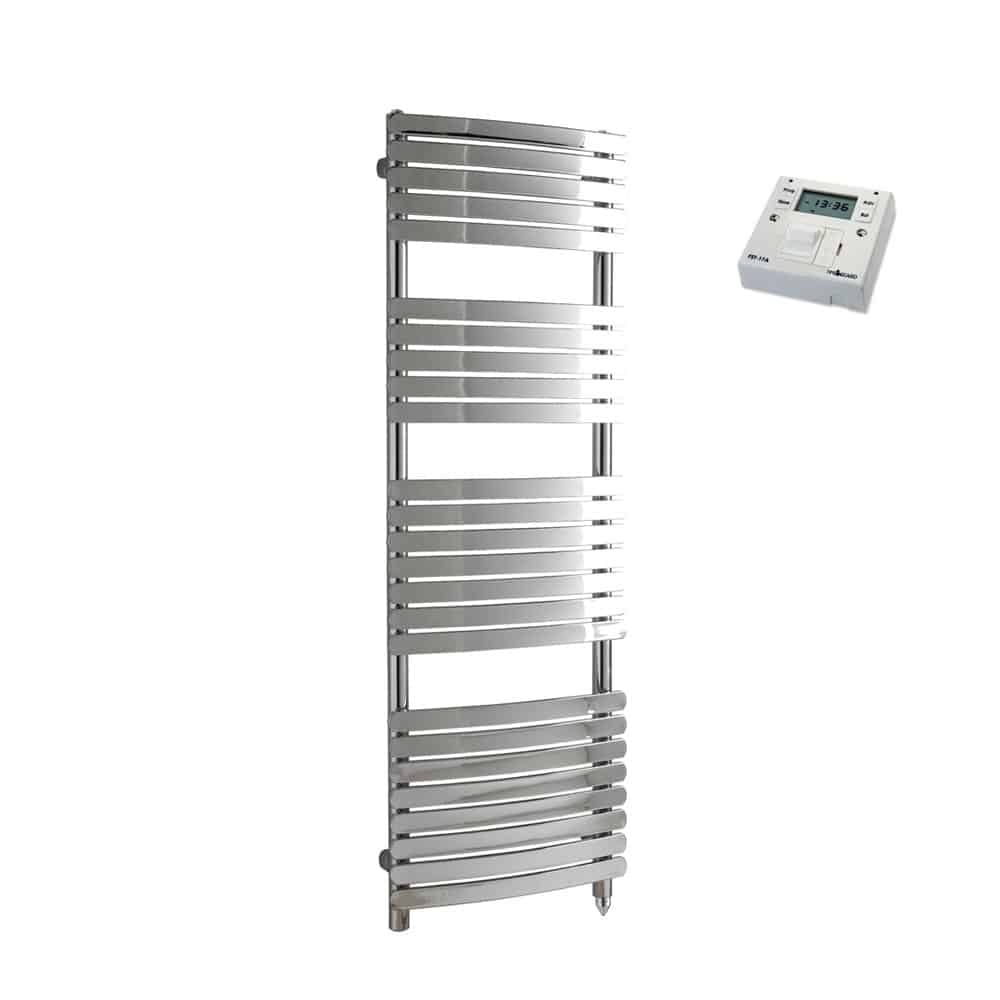 Greeba Flat Bar Chrome Prefilled Electric PTC Heating Element Curved Towel Rail with Fused Spur Timer 1