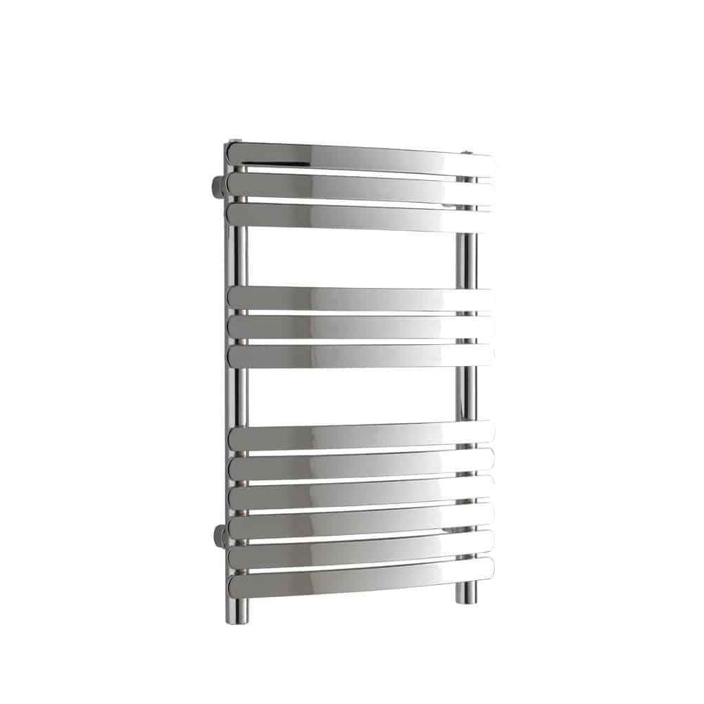 Greeba Flat Bar Chrome Curved Central Heating Towel Rail 1