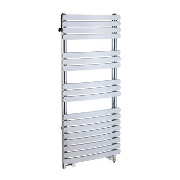 Greeba Flat Bar Chrome Dual Fuel Electric PTC Heating Element Curved Towel Rail 1