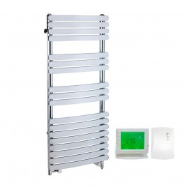 Greeba Flat Bar Chrome Dual Fuel Electric PTC Heating Element Curved Towel Rail with Wireless Timer & Thermostat 1
