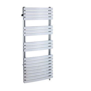 Greeba Flat Bar Chrome Prefilled Electric PTC Heating Element Curved Towel Rail 1