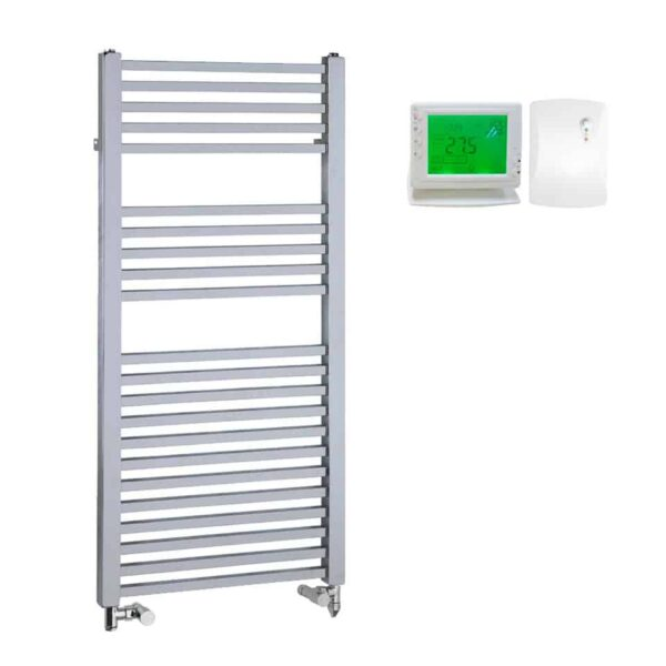 Chrome Dual Fuel Towel Rail Electric PTC Heating Element – The Laurel Square Tube with Wireless Timer & Thermostat 1
