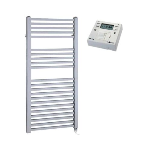 Chrome Dual Fuel Towel Rail Electric PTC Heating Element – The Laurel Square Tube with Fused Spur Timer 1
