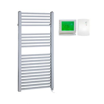 Chrome Electric Towel Rail PTC Heating Element – The Laurel Square Tube with Wireless Timer & Thermostat 1