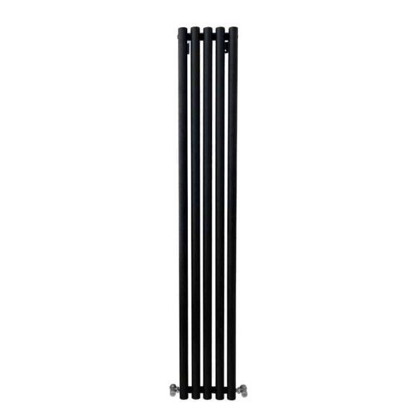 MOUNTAIN Round Tube Designer Vertical Radiator, Tall, Black – Central Heating