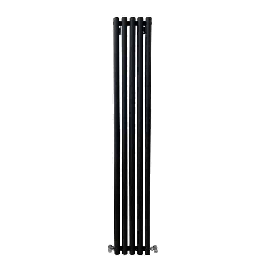 MOUNTAIN Round Tube Designer Vertical Radiator, Tall, Black – Central Heating