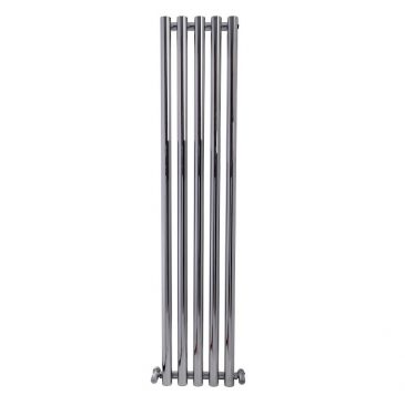 MOUNTAIN Round Tube Designer Vertical Radiator, Tall, Chrome – Central Heating