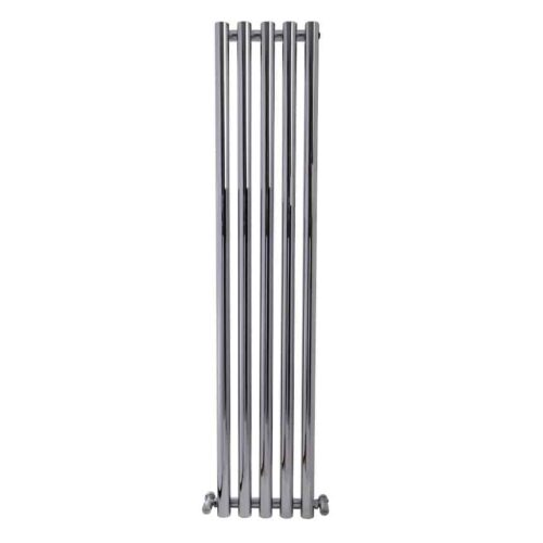 MOUNTAIN Round Tube Designer Vertical Radiator, Tall, Chrome – Central Heating