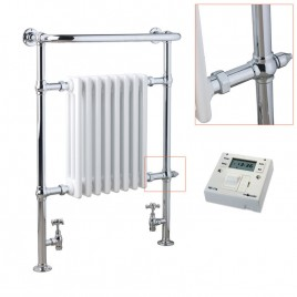 Traditional Victorian Radiator with Heated Towel Rail – Dual Fuel Electric – The Ramsey – with Fused Spur Timer 1