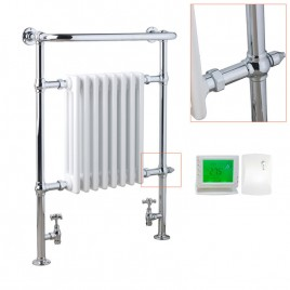 Traditional Victorian Radiator with Heated Towel Rail - Dual Fuel Electric - The Ramsey - with Wireless Timer & Thermostat