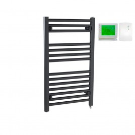 Straight Anthracite Electric PTC Towel Rails – The Bray – Wireless Timer & Thermostat 1