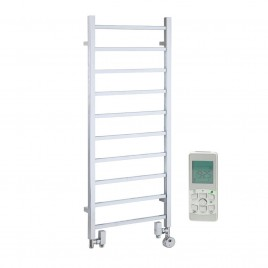 Square Tube Chrome Electric Heated Towel Rail Dual Fuel Thermostatic Remote Control - The Ballaugh