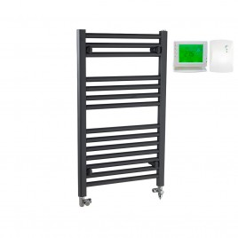 Straight Anthracite Towel Rails – Dual Fuel – Central Heating and Electric – Wireless Timer & Thermostat 1