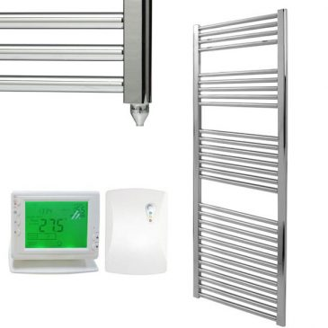Straight Chrome Electric PTC Towel Rails – The Bray – Wireless Timer & Thermostat 1