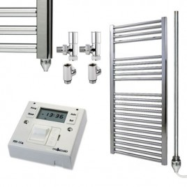 Straight Chrome Heated Towel Rail Dual Fuel Electric Ptc With Fused Spur Timer The Bray